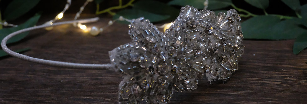 SILVER CRYSTAL APPLIQUE TIARA