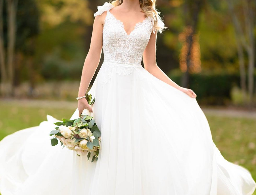STELLA YORK 6942 WEDDING DRESS SIZE 14 ROMANTIC BOHO A-LINE