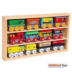 Orbrium Toys 12 Pcs Wooden Engines