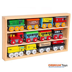 Orbrium Toys 12 Pcs Wooden Engines