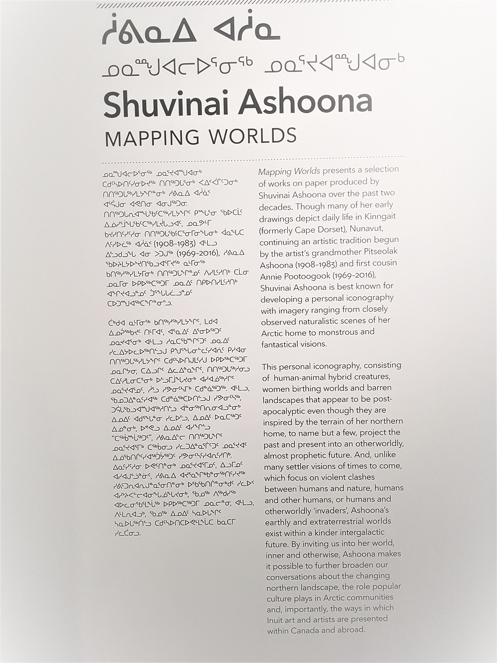 Shuvinai Ashoona Mapping Worlds exhibition at the Power Plant with wall text in english and inuktitut.