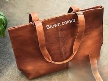 Riga Leather Tote Bag - brown