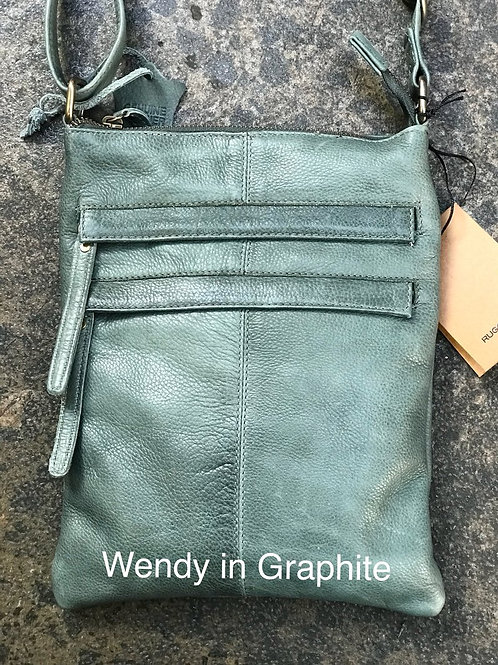 Wendy leather Sling Bag - Graphite (green grey)