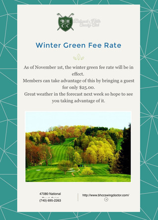 Winter Rates - $25.00