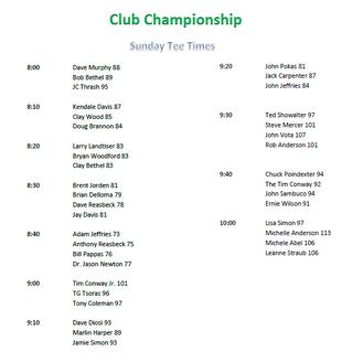 Club Championship Sunday Tee Times