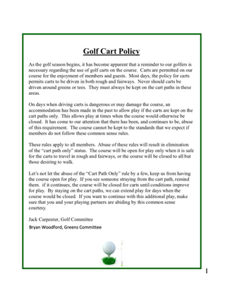 Golf Cart Policy