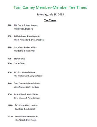Tom Carney Tee Times