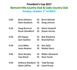 President's Cup Pairings Day 2