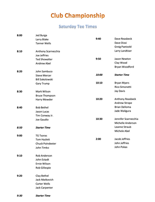 Club Championship Saturday Tee Times