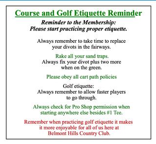 Golf Etiquette Reminder