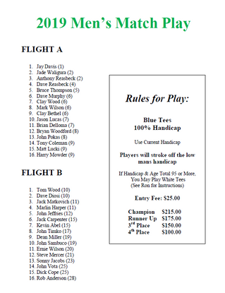 Spring Match Play Flights