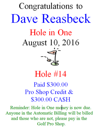Dave Reasbeck Hole-in-One