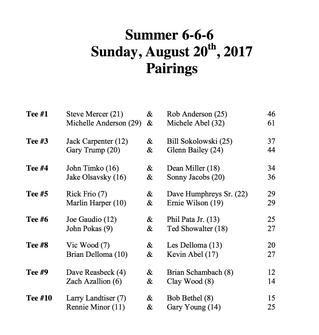 Summer 6-6-6 Pairings