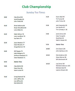 Sunday Tee Times