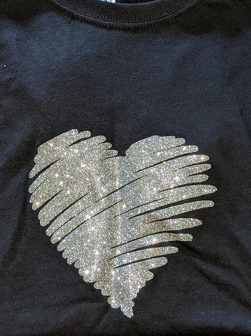 Silver Glitter T-Shirt Black