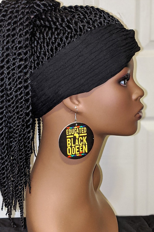 """Educated Black Queen"" Wooden Earrings"