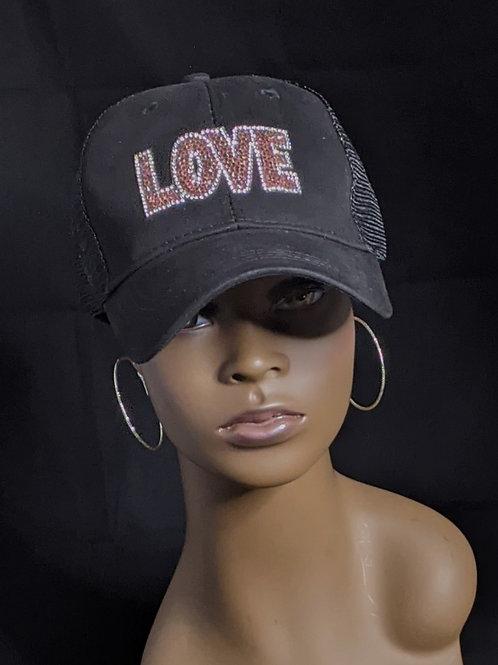 Black Mesh Ponytail Cap - Love 1