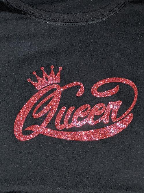 Queen Pink Glitter Tee - Black