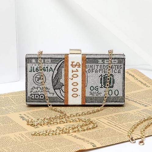 Rhinestone Money Clutch Bag