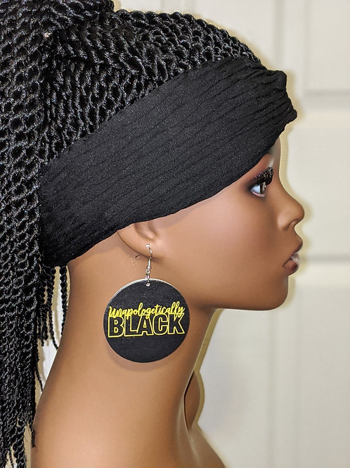 """""""Unapologetically Black"""" Wooden Earrings"""