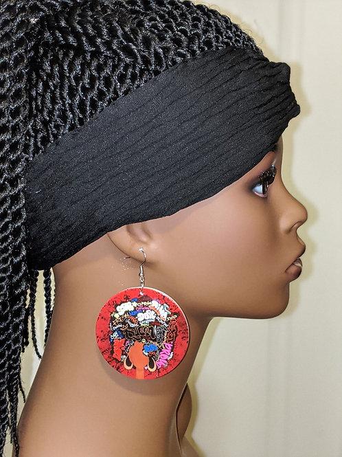 Afro Graffiti Wooden Earrings