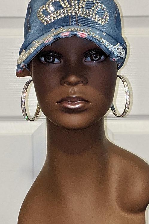 Crown Jeweled Denim Hat