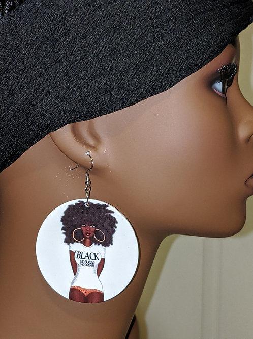 """""""Black No Sugar No Cream"""" Wooden Earrings"""
