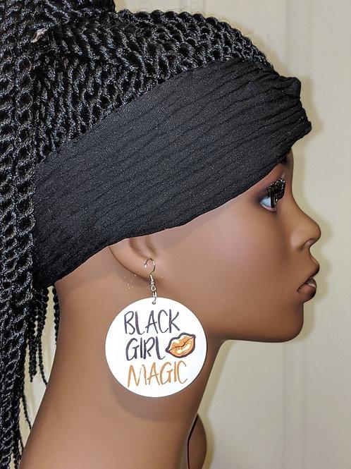 """""""Black Girl Magic"""" Wooden Earrings"""