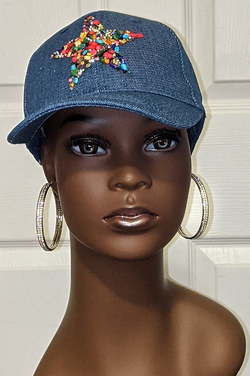 Denim Hat - Multi Star