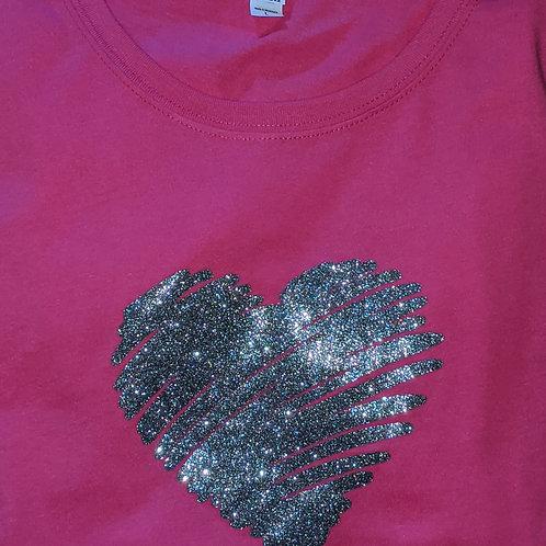 Silver Glitter T-Shirt Raspberry