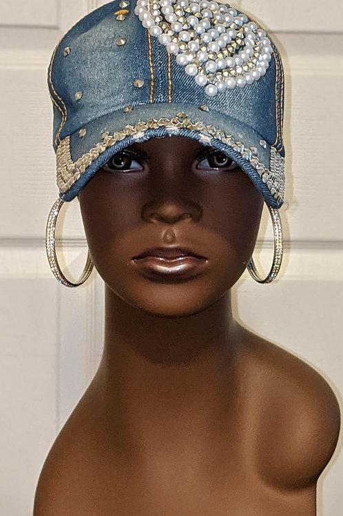 Heart Jeweled Denim Hat
