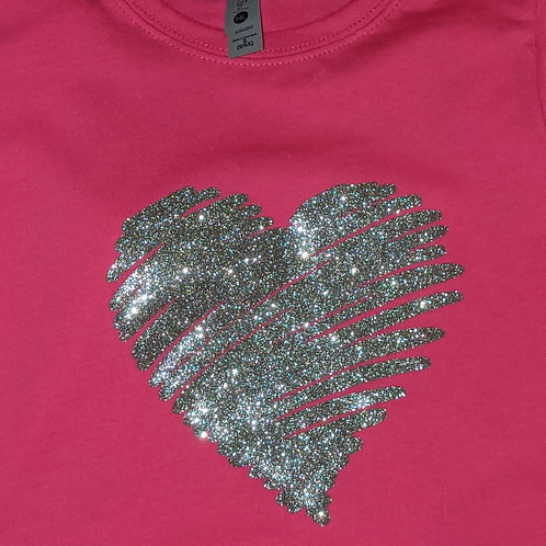 Youth Silver Heart Tee - Raspberry
