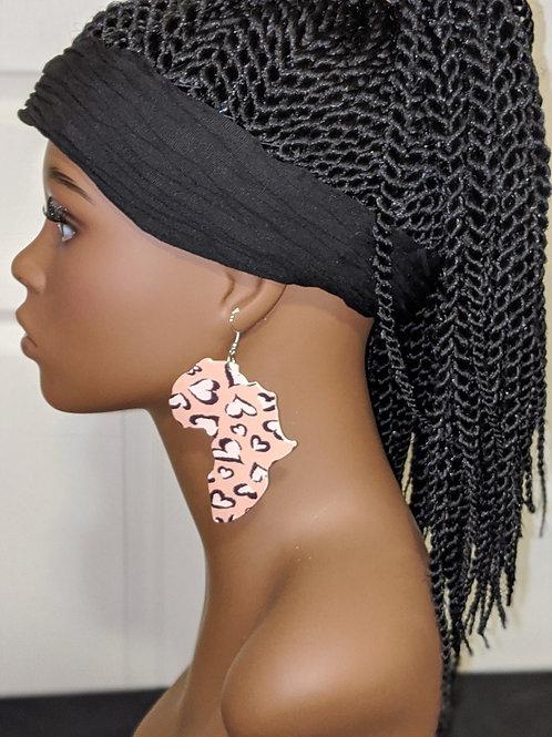 Heart Leopard Africa Wooden Earrings