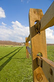fence rails with blue sky and green gras