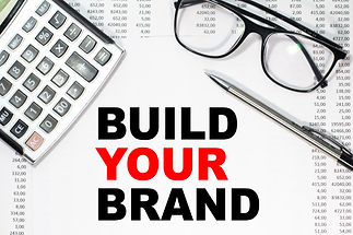 build your brand inscription on a sheet and 4 on the background of financial reporting, ca