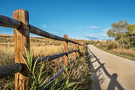 wooden fence with a shadow and a  bike trail  - Poudre River Trail in northern Colorado ne