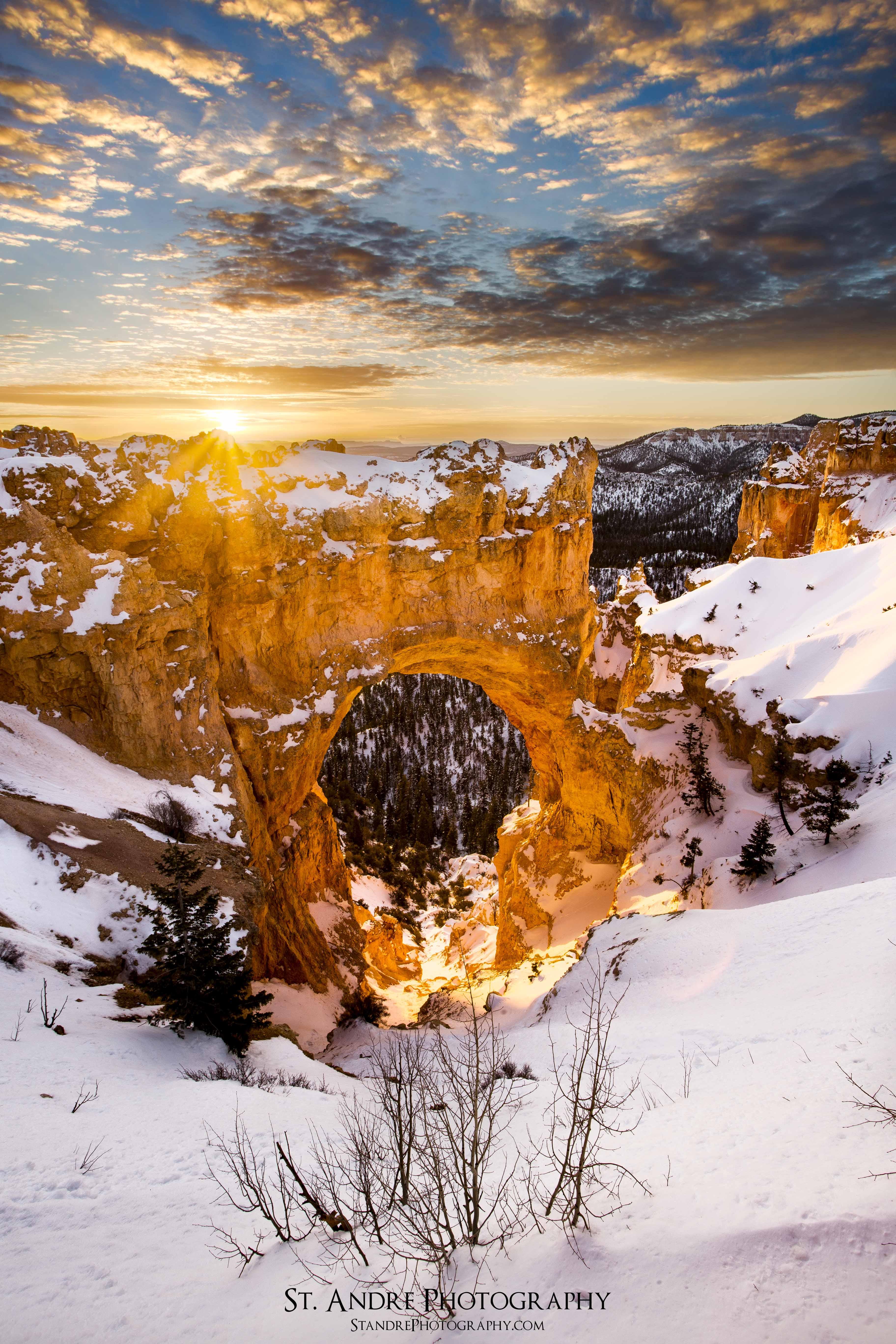 Bryce Natural Bridge Sunrise, verticle-
