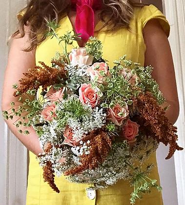 window box farm bridal bouquet & memory scarf