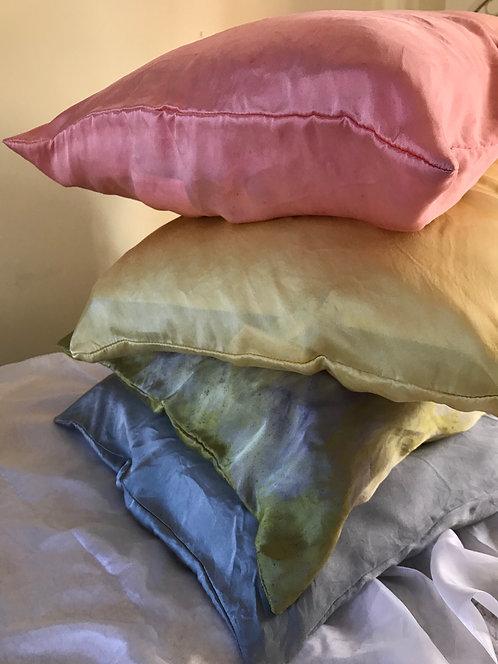botanically dyed silk pillowcase