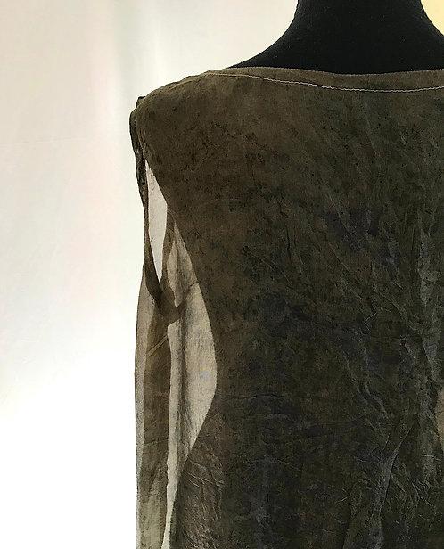bronze leopard semi-sheer silk organza cover up