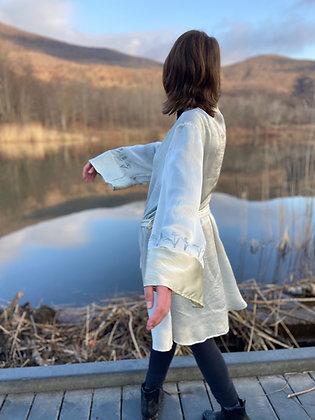 iris print silk robe