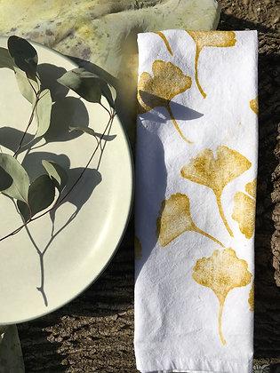 gold ginkgo cotton towel
