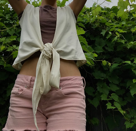 made to order: raw silk tie top