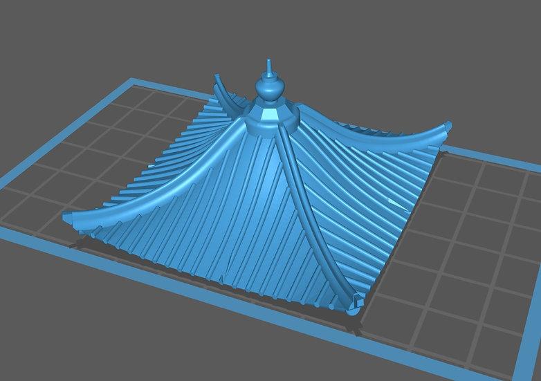 【3Dデータ】建物パーツ 中華風瓦屋根