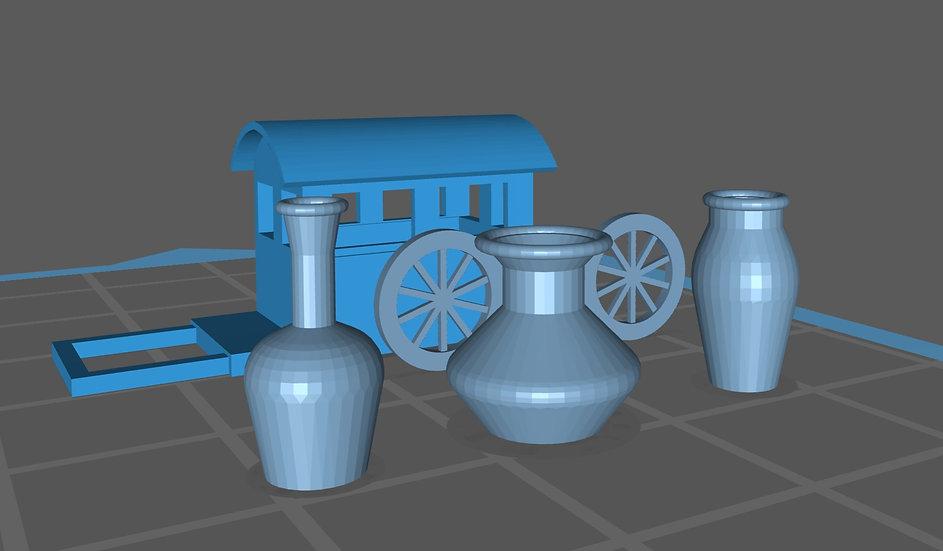 【3Dデータ】情景小物 坪 荷車 小物セット