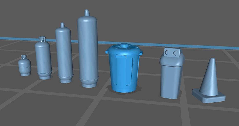 【3Dデータ】情景小物 4点セット(プロパンガス ポリバケツ 自販機用ゴミ箱 三角コーン)