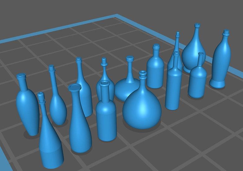 【3Dデータ】ワインボトル色々 1/24サイズ
