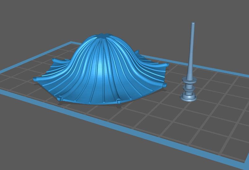 【3Dデータ】建物パーツ 八角形 曲線帽子屋根
