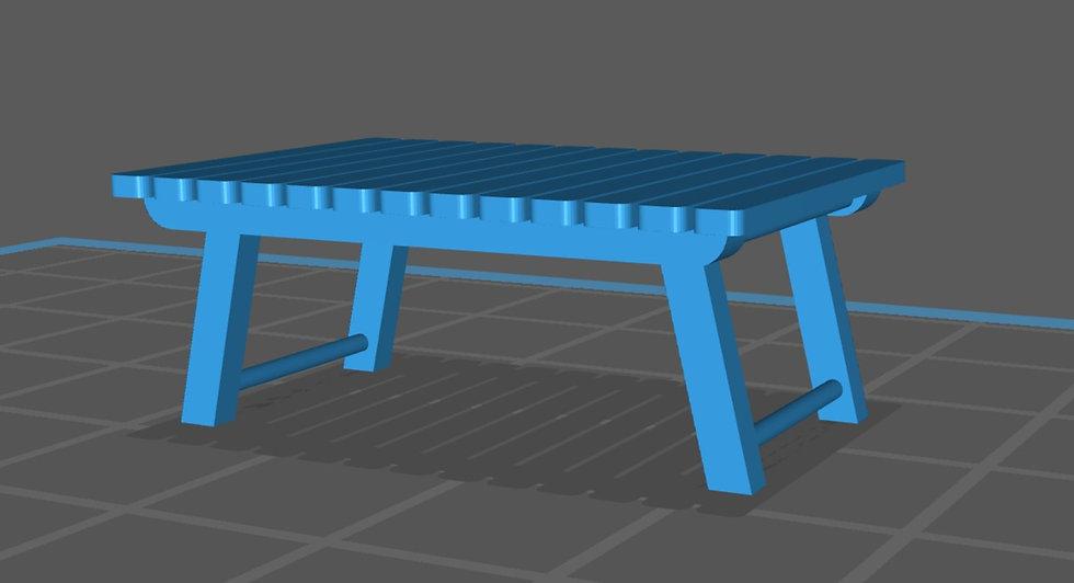 【3Dデータ】ローテーブル(アウトドア用 ロング) 1/24サイズ