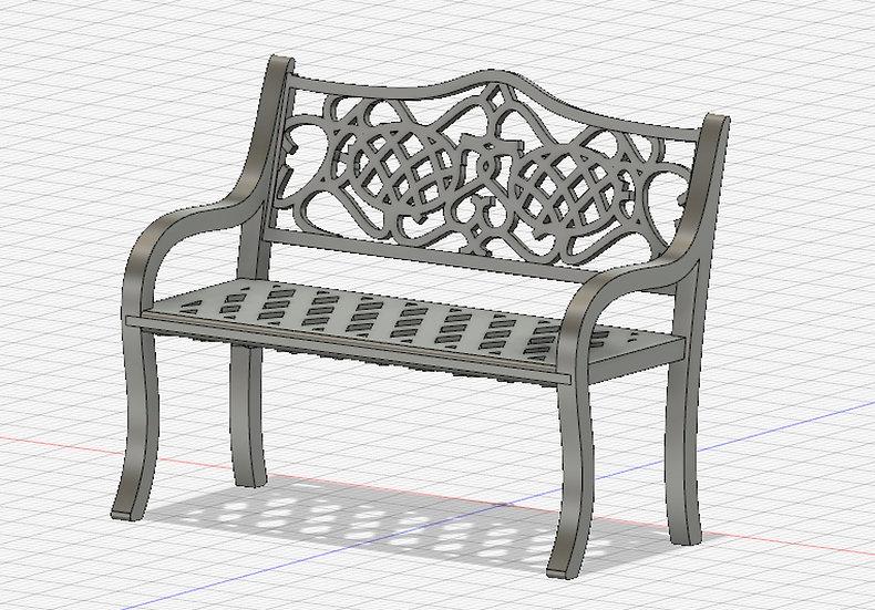 【3Dデータ】パークベンチ 1/24サイズ